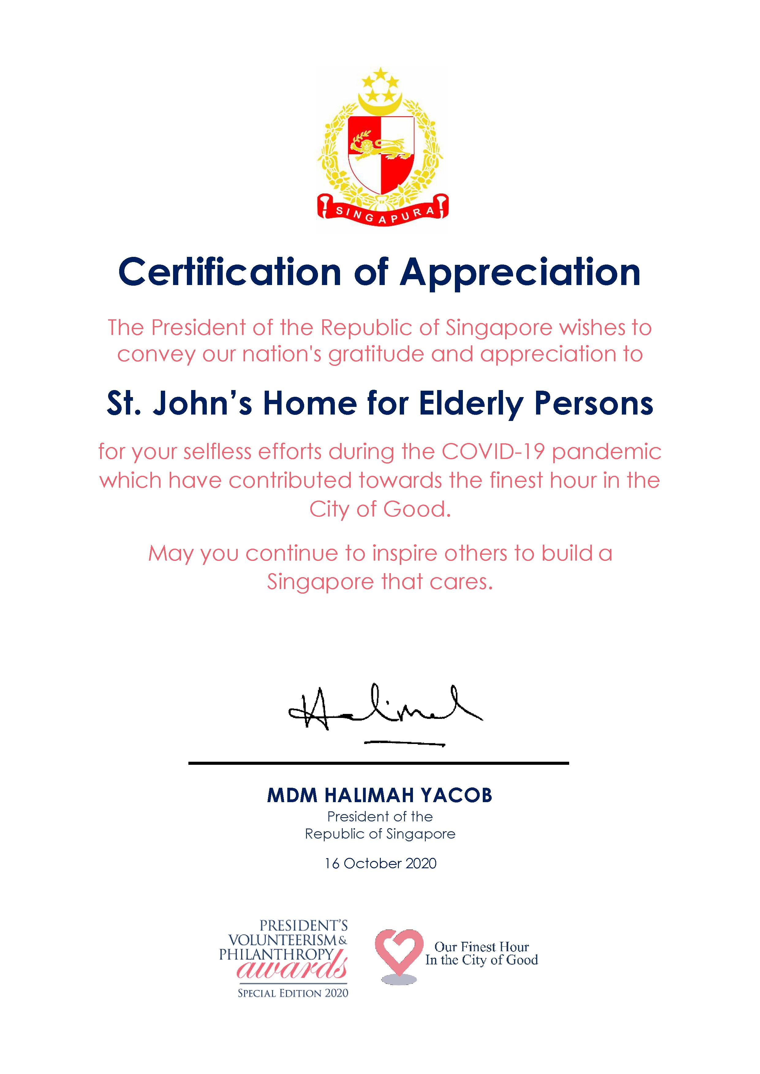 PVPA 2020 Certificate of Appreciation (St. Johns Home for Elderly Persons)